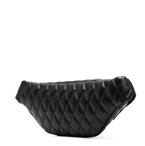 QUILTED BANANA BAG WITH STUDS - BLACK
