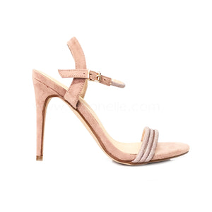 ROSEGOLD 9CM HEELS WITH GLITTERY FRONT STRAP