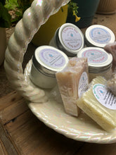 Load image into Gallery viewer, Gads of Our Holy Suds Essential Oil Body Butter & All Natural Soaps in Cream Iridescent Basket