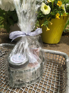 Glass Heart Gift Basket with Holy Suds Soap & Body Butter