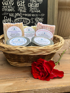 Family Rules Sign and Basket of Holy Suds Soap Co. Essentials