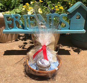 Sweet Wooden Friends Sign with Basket of Goodies