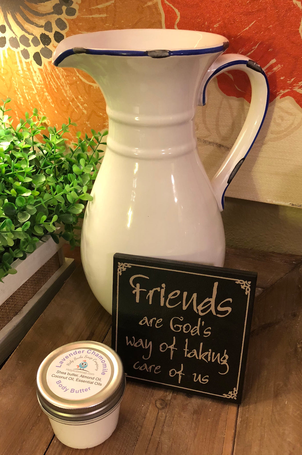 Vintage Ceramic Pitcher, Friends Sign + Shea Whipped Body Butter
