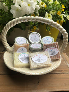Gads of Our Holy Suds Essential Oil Body Butter & All Natural Soaps in Cream Iridescent Basket