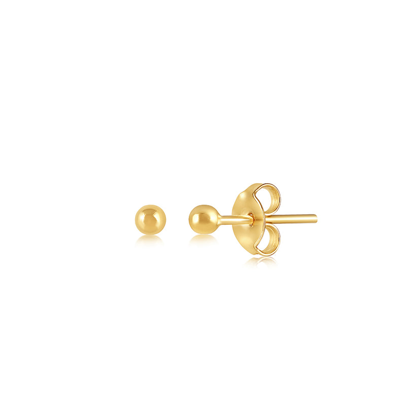 GOLD STUD EARRING 2MM
