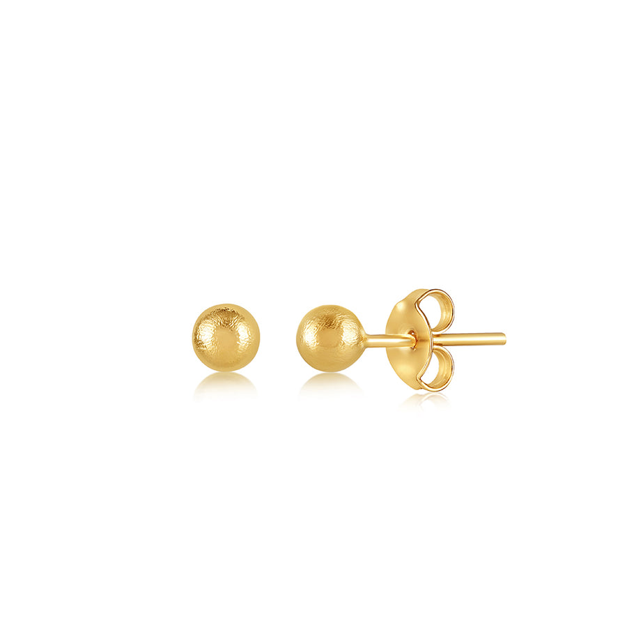 GOLD STUD EARRING 4MM