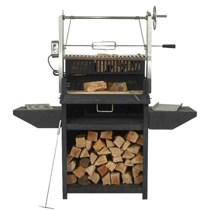 The Asado Grill full monty kitted out with the classic v-shaped Argentinian bbq grill, stainless steel rotisserie, Chapa and laser-cut grill giving you full flexibility in what you can cook and endless hours of enjoyment.