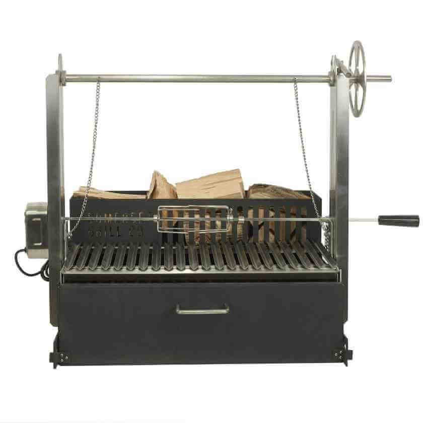 The Glastonbury Asado Grill with stainless steel rotisserie fitted