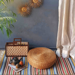 Water Hyacinth Floor Cushion - Opaque Studio Floor Cushion