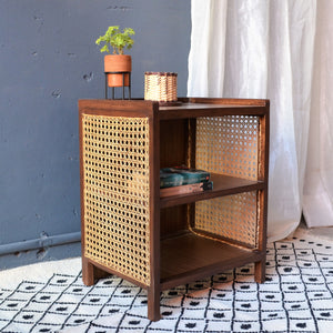 Asbury Brown Cane Side Table - Opaque Studio Sidetable