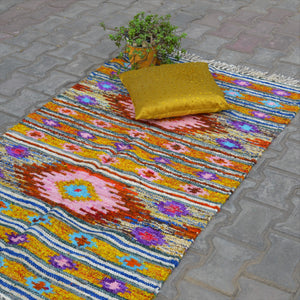 Recycled Yellow Silk Saree Handwoven Rug - Opaque Studio Rugs