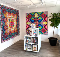 Wheelhouse and Cadence quilts on display at Seamless Gallery, Phoenxvile, PA