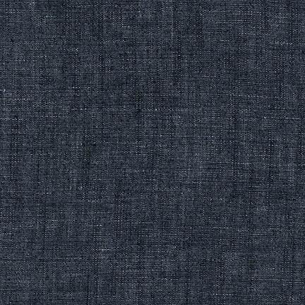 Cotton Linen Chambray in Indigo Washed 5 oz 56""