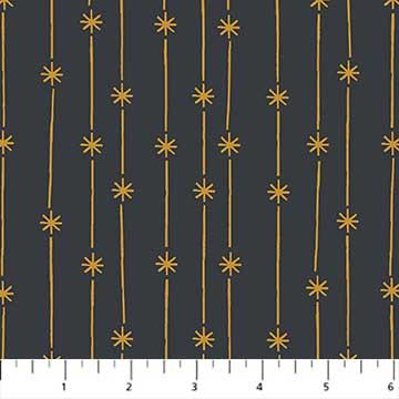 Celestial - Star Stripes by Yelena Brysenkova in Dark Gray Gold Metallic