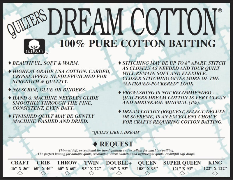 "N3 Natural Dream Cotton Request - Thinnest Loft - King 122"" x 120"""