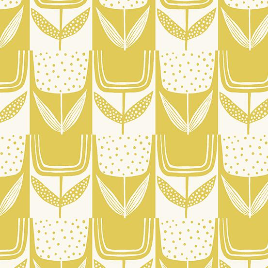 Perennial - Patchwork Tulips in Lemon Meringue by Sarah Golden