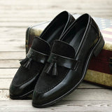 New Arrival Men Brown Boat Shoes Fashion Pointed Toe Suede Tassel Business Leisure Leather Shoes Slip On Loafer Black-JACKMARC
