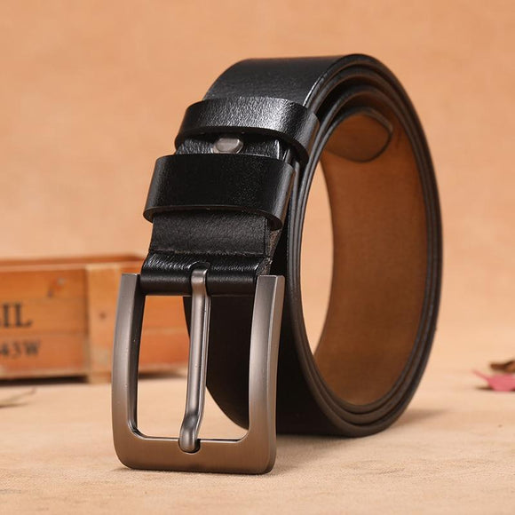 Stylish Genuine Leather Men's Leisure Belt Retro Pin Buckle Formal and Casual Wear- JACKMARC