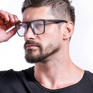 Oversized Square Frame Eyeglasses For Men - JACKMARC