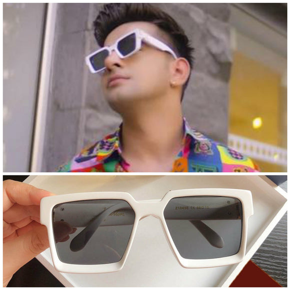 Latest Stylish Celebrity Jass Manak Square White Sunglasses For Man-JackMarc