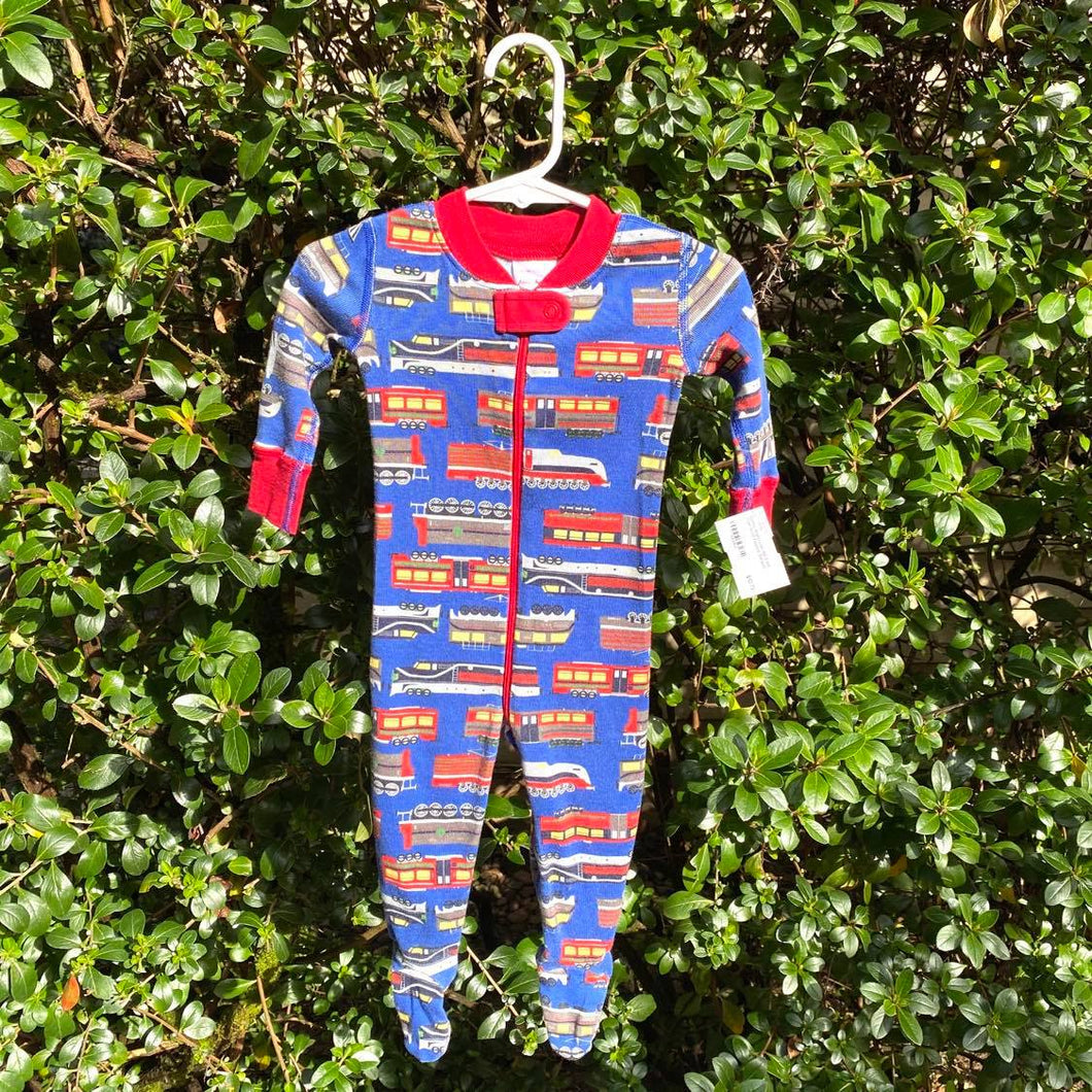 60/3-6M: Hanna Andersson Train Print Footed Pajamas