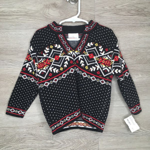 90/2-3: Black Fair Isle Sweater