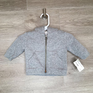 0-3M: Heather Gray Zip-Up Hoodie