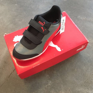 Size 2.5: NEW Gray + Red Velcro Sneakers