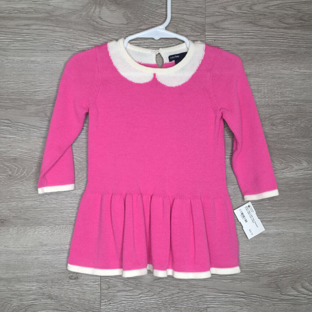 3-6M: Pink Sweater Dress with Faux Collar