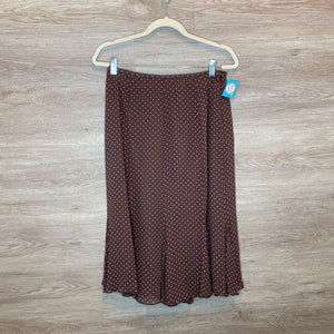 Size 12: Brown Polka Dot Flare Skirt