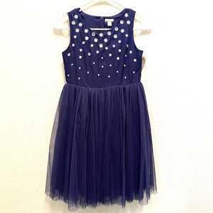 12: Navy Tulle + Jewel Formal Dress