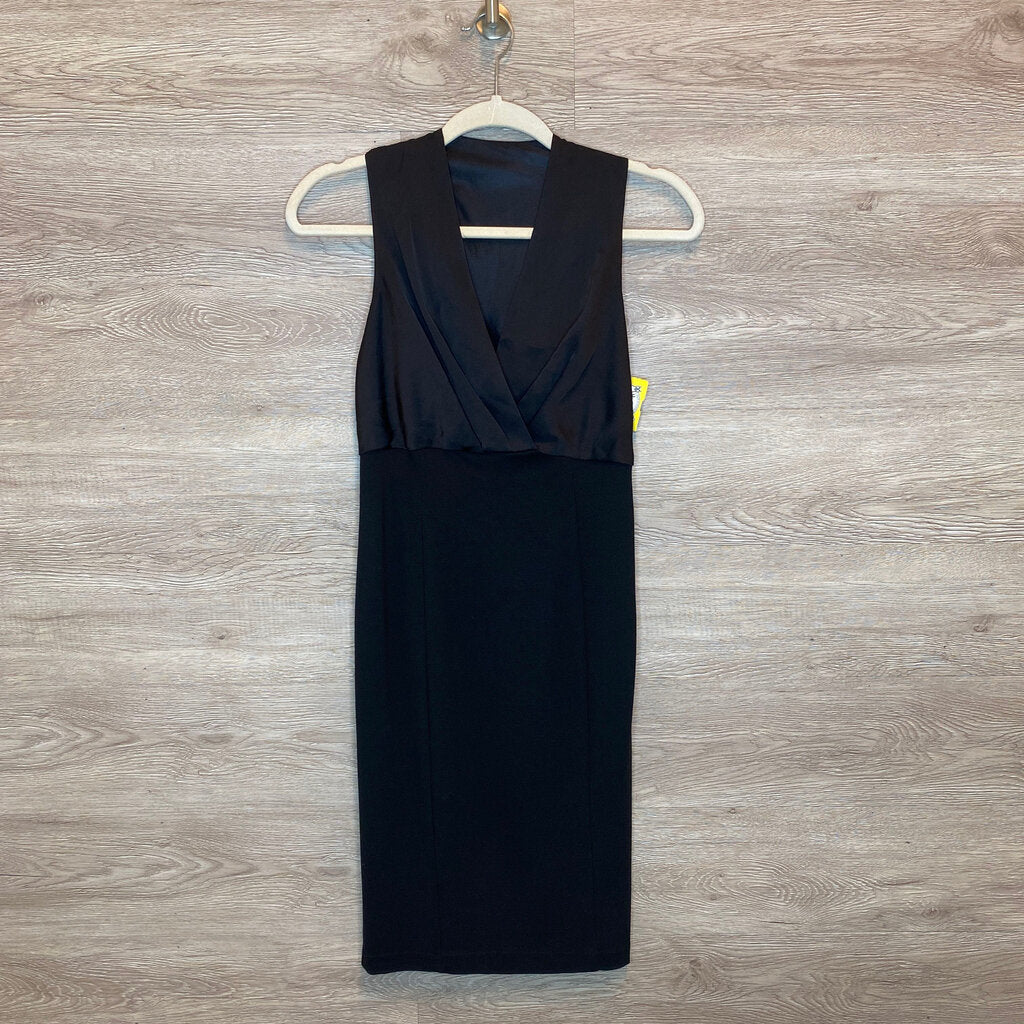 XS: Black Silky Top Empire Dress
