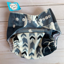 Load image into Gallery viewer, O/S: B/W Antler Fleece Diaper Cover