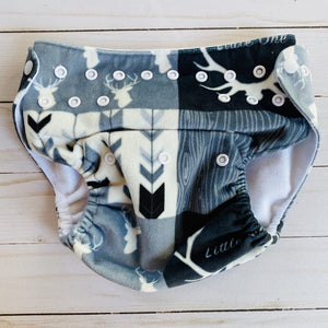 O/S: B/W Antler Fleece Diaper Cover