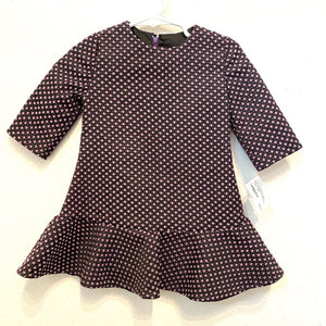 2T: Black Purple Dotted Peplum Dress *retails ~$200