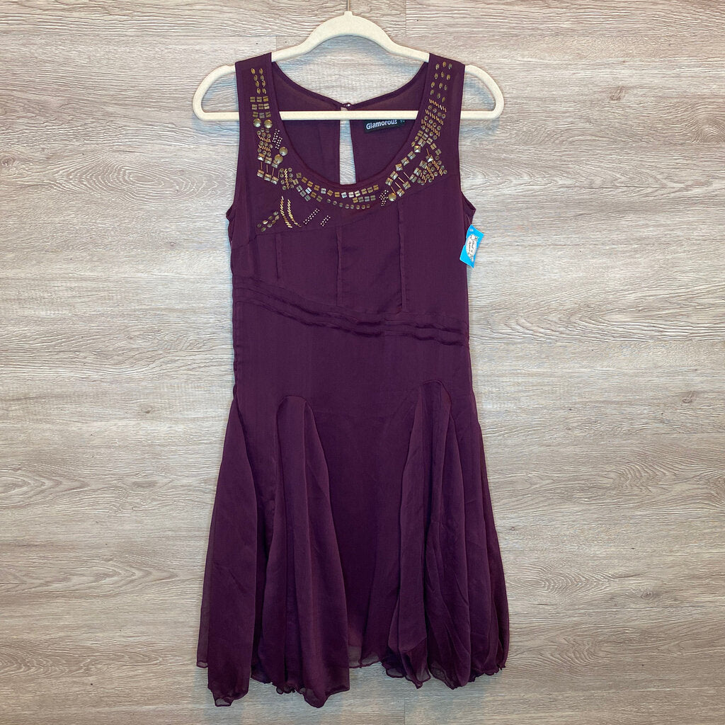 Size UK12 (Fits like 8-10): Geo Beaded Neckline Plum Flowy Hem Dress