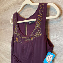 Load image into Gallery viewer, Size UK12 (Fits like 8-10): Geo Beaded Neckline Plum Flowy Hem Dress