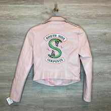 Load image into Gallery viewer, S: NEW Pink South Side Serpents Faux Leather Moto Jacket*retails $65