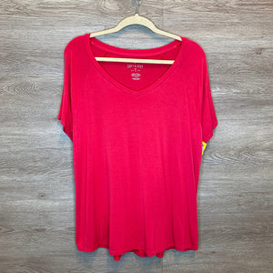 L: NWT Coral Super Soft V-Neck Tee
