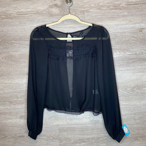 M: Black Sheer + Lace Top