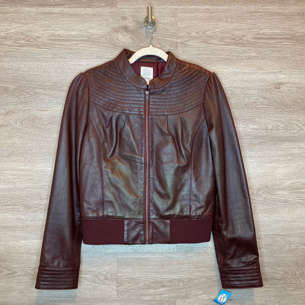 M: Brown Leather Moto Jacket *retails ~$130