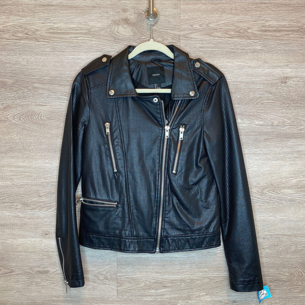 S: Black Faux Leather Fashion Jacket