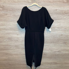 Load image into Gallery viewer, L: Black Crepe Texture Deep Back V Dress