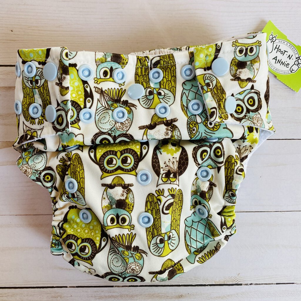 Glow Bug Cloth Diaper w/ Insert - Owls