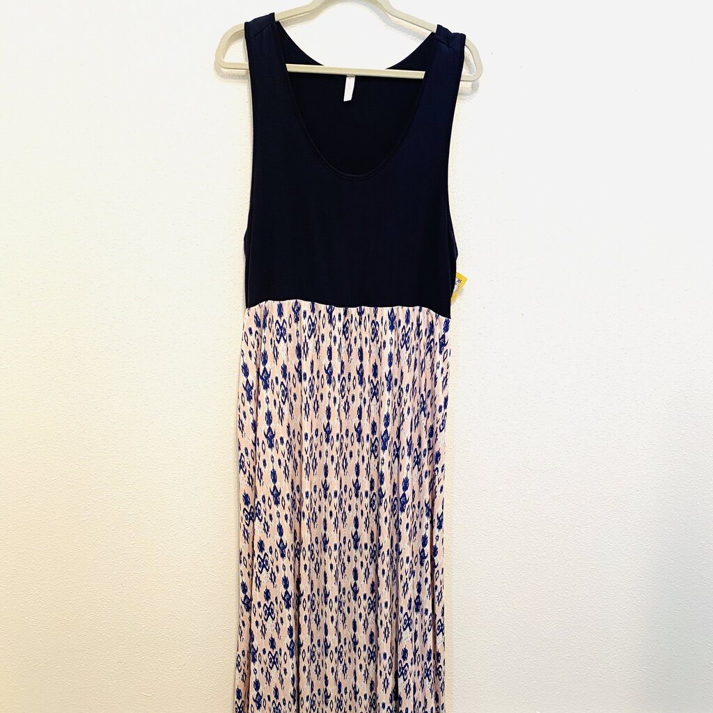 XL: Pink + Navy Native Pattern Maxi Tank Dress
