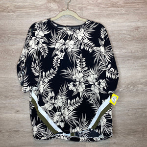 Size 10: Black + Cream Tropical Print Top