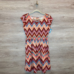 S: Colorful Chevron Keyhole Back Dress