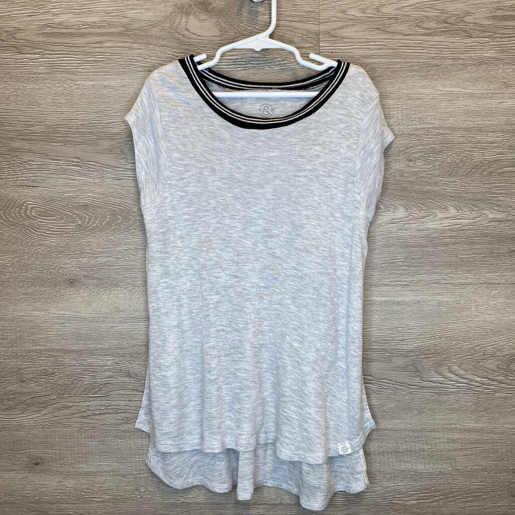 7/8: Heather Gray Knit Ringer Tee