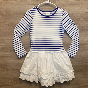 140(10-12): Blue + White Striped Eyelet L/S Dress