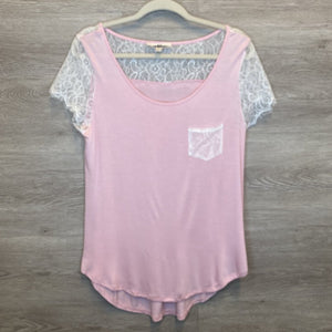 XL: Pink Lace Detail Soft Tee